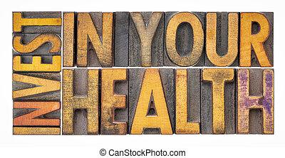 investieren, dein, gesundheit, begriff