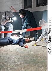 investigação, cena, crime