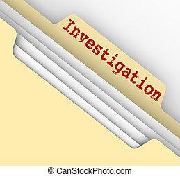 investigación, carpeta de papel de estraza, investigación,...
