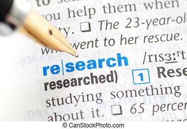 investigación, -, diccionario, serie