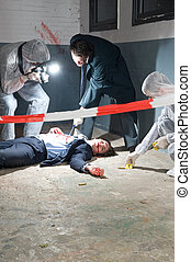 investigación, escena, crimen