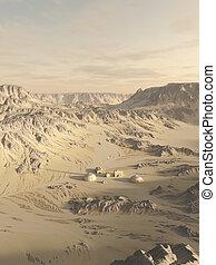 investigación, poste, en, un, desierto, planeta