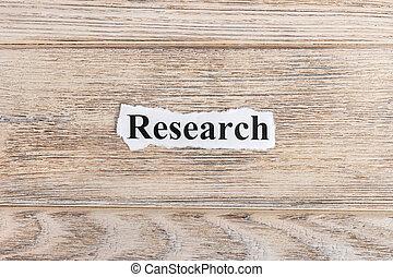 investigación, texto, en, paper., palabra, investigación, en, rasgado, paper., concepto, imagen