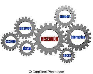 investigación, y, conceptual, palabras, en, plata, gris,...