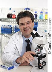 investigador, laboratorio, escritorio, científico, sentado