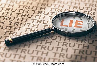 investigador, mentiras, descoberta, conceito, privado