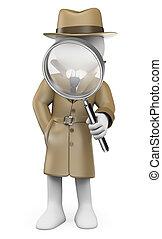 investigador, personas., privado, blanco, detective., 3d