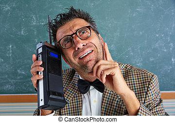 investigador, privado, tolo, retro, talkie, walkie, nerd