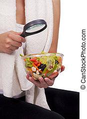 investigar, menina, salada