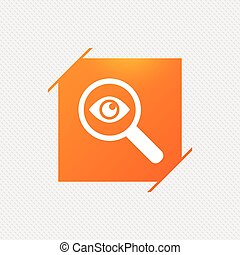 Investigate icon. Magnifying glass with eye.