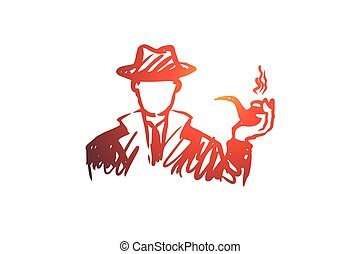 Investigate, magnifier, search, man, detective concept. Hand drawn isolated vector.