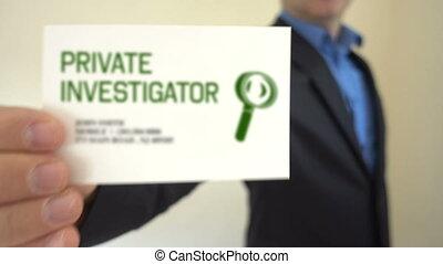investigateur privé, carte affaires, exposition
