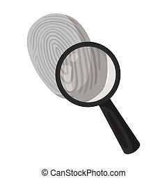 Investigation by fingerprint magnifier, crime. Loupe is a...