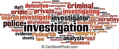 Investigation word cloud concept. Vector illustration