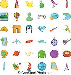 Investigation icons set, cartoon style