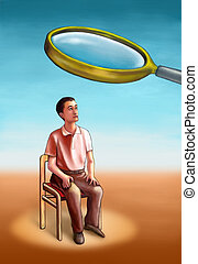 Investigation - Man analyzed under a magnifying lens. ...