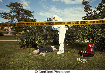 Investigation of murder in summer time - collecting of...
