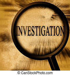 investigation on a grunge background with a magnifier