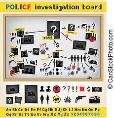 investigation, police, planche