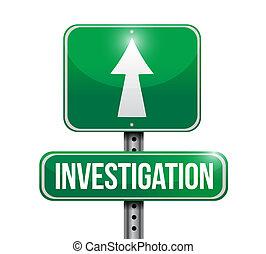 investigation road sign concept illustration design over white