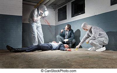 investigation, scène, crime