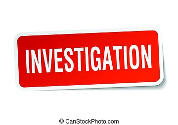 investigation square sticker on white