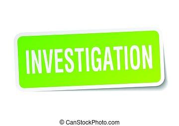 investigation square sticker on white