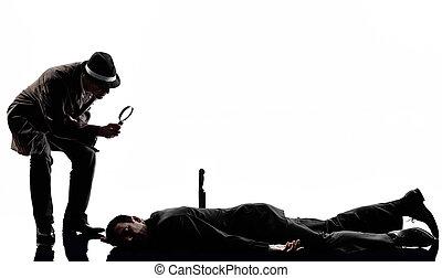 investigations, detective, hombre, criminal, silueta