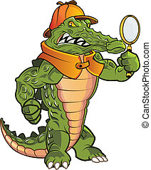 Investigator Gator - Mean Detective Gator in Action