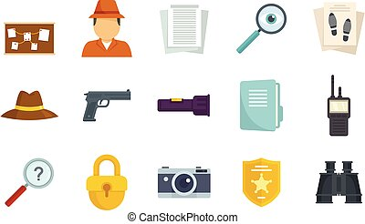 Investigator icons set flat vector isolated
