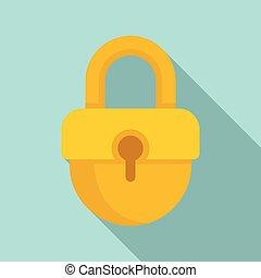 Investigator padlock icon, flat style