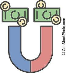 investimenti, dollaro, successo, affari, soldi, magnete, attirando, concetto, illustration.