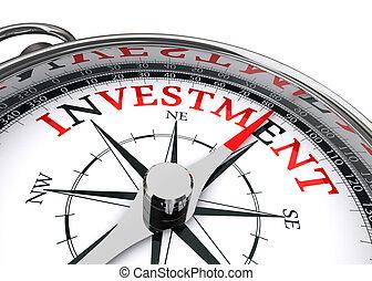investimento, concettuale, bussola