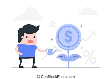 investimento, illustration., vetorial, conceito