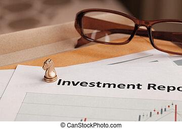 investimento, relatório, letra, documento, e, eyeglass;, documento, é, giga