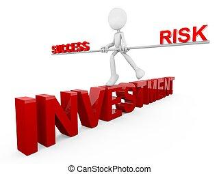 investimento, sucesso, e, risco