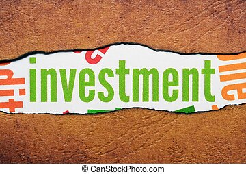 investimento, texto, ligado, papel rasgado