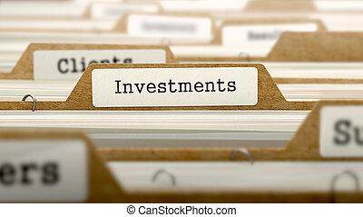 investimentos, conceito, com, palavra, ligado, folder.