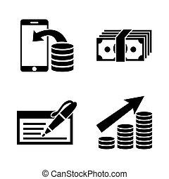 investing., eenvoudig, geld, iconen, verwant, vector