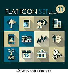 investing & finance icon set vector flat design
