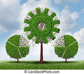 Investing in a business for growth as a financial concept with trees shaped as a financial pie chart transferring and lending assets to a growing gear or cog shaped plant as an idea of growing industry strategy.