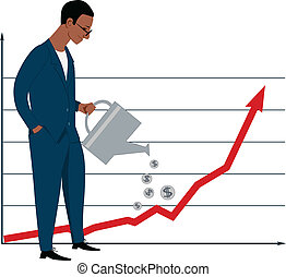 Black businessman, watering a stock graph, making it growing, vector illustration