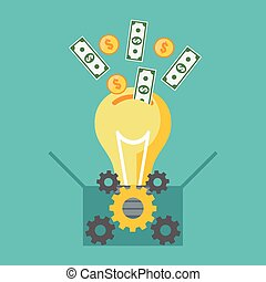 Investing into idea, crowdfunding concept. Flat design. ...