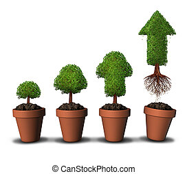 Investing money and financial growth success concept as a group of plant pots as gradual growing trees with a mature tree shaped as an arrow taking off upward free from the constraints of home as a symbol for economic investment.