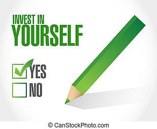investir, aprovação, sinal, mensagem, você mesmo