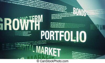 investir, argent, termes, apparenté