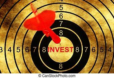investir, conceito, grunge, alvo, fundo