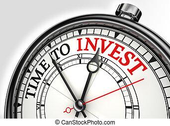 investir, conceito, relógio tempo