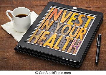 investir dedans, ton, santé, concept