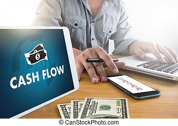 investir, dinheiro, fluxo, dinheiro, mapa, operação bancária, gráfico, investimento